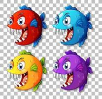Set of different color exotic fish with big eyes cartoon character on transparent background