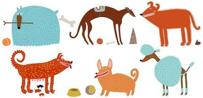 Various dogs set vector