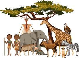 Tribu africana con grupo de animales salvajes africanos sobre fondo blanco. vector