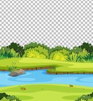 Blank nature park scene on transparent background
