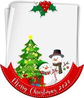 Blank paper with Merry Christmas 2020 font logo and snowman vector