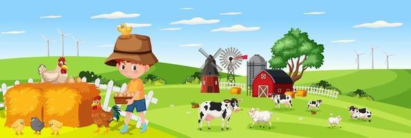 Chico lindo en la naturaleza granja escena de paisaje horizontal durante el día vector