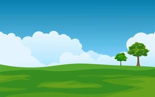 Empty Meadow on Sunny Day vector