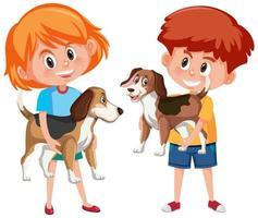 Los niños con sus mascotas aisladas sobre fondo blanco. vector