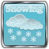 icono del tiempo del día con texto nevando vector