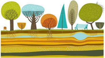 parque de árboles vector