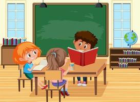 Young students doing homework in the classroom scene vector