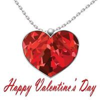 Valentine's Day heart red pendant on white background vector