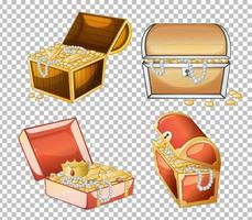 Set of treasure chest isolated on transparent background vector