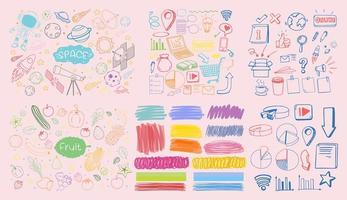 conjunto de objetos coloridos y símbolos dibujados a mano doodle sobre fondo rosa vector