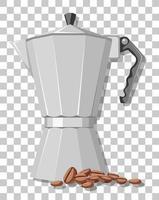 Olla de moka con granos de café aislado sobre fondo transparente vector