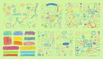 conjunto de objetos coloridos y símbolos dibujados a mano doodle sobre fondo verde vector