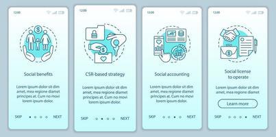 plantilla de vector de pantalla de página de aplicación móvil onboarding csr
