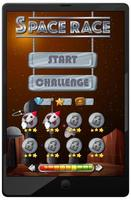 Space race mission game on tablet screen vector