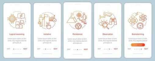 cualidades profesionales incorporando la pantalla de la página de la aplicación móvil