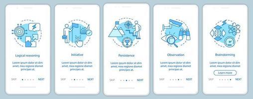 Pantalla de la página de la aplicación móvil de incorporación de pensamiento analítico