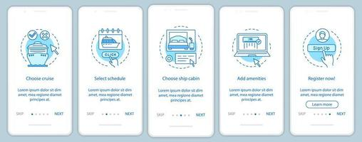Online cruise booking onboarding mobile app page vector