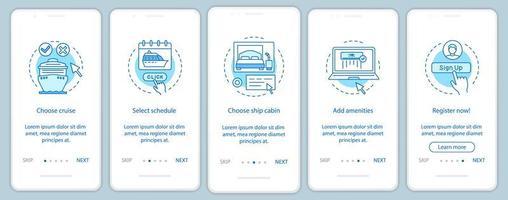 Página de la aplicación móvil de incorporación de reservas de crucero en línea