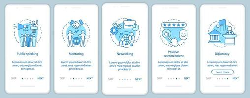 pantalla de la página de la aplicación móvil de incorporación de habilidades comerciales