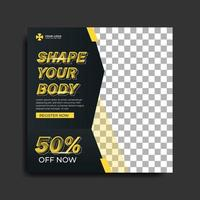 Fitness or gym social media banner vector