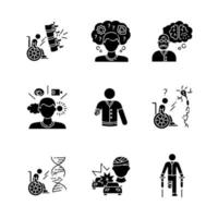 Patient with disability black glyph icons set vector