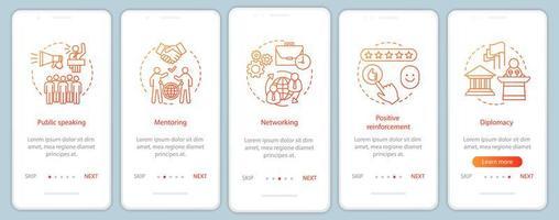 pantalla de la página de la aplicación móvil de incorporación de habilidades blandas empresariales