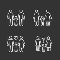 conjunto de iconos de tiza de custodia de los hijos vector