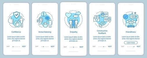 Página de aplicación móvil de incorporación de cualidades blandas para empleados