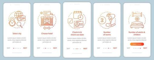 Trip planning onboarding mobile app page screen vector