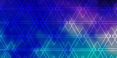 Dark Pink, Blue backdrop with lines, triangles.