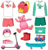 Set of pink and green color toys and clothes isolated on white background