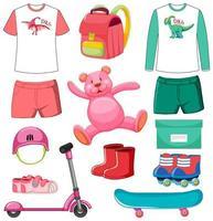 Conjunto de juguetes y ropa de color rosa y verde aislado sobre fondo blanco. vector