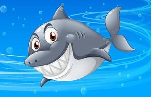 Many sharks cartoon character in the underwater background vector