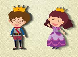 Little prince and princess cartoon character
