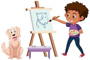 Un niño pintando un cuadro de perro aislado sobre fondo blanco. vector