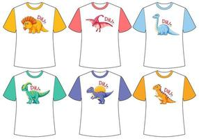 conjunto de pantalla de dinosaurio de diferentes colores en camisetas