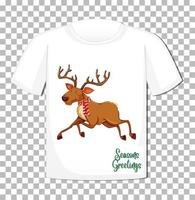 Christmas raindeer cartoon character on t-shirt on transparent background vector