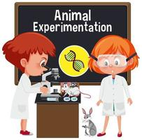 Young scientist doing experimentation with animal vector