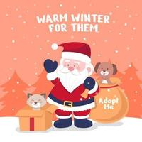 Santa Paws Save Animal by Adopting vector