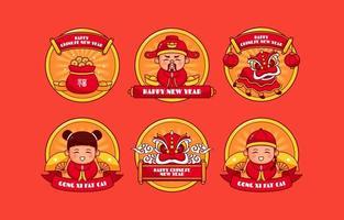 celebrando el año nuevo chino etiqueta engomada del icono vector