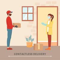 Delivering Package Without Human Contact vector
