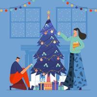 Decorate Christmas Tree on Snowy Night vector