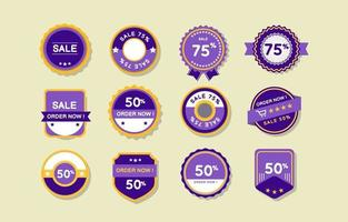 Simple Purple and Yellow Marketing Promotion Label