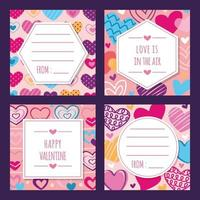 Hand-drawn Valentine Giftcard Collection vector
