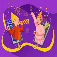 New Year Virtual Celebration Video Call vector