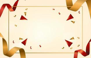 cinta de raso rojo y dorado brillante vector