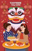 celebrando el año nuevo chino con amigos vector