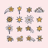 Outline Stars Icon Set vector