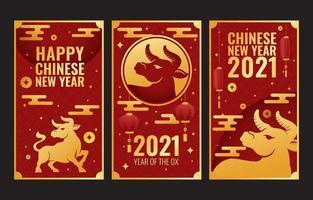 tarjeta de año nuevo buey dorado vector