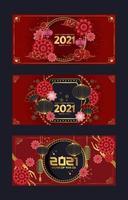 tarjeta de año nuevo chino rojo y dorado vector